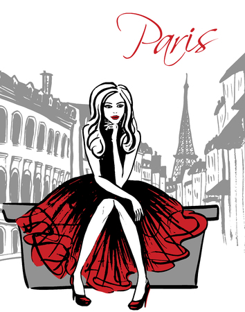 red dress: Fashion illustration of woman sitting and thinking on street of Paris. Hand drawn ink sketch.
