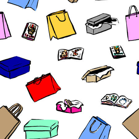 gift bags: Seamless background with gift boxes and shopping bags for sale design. Hand drawn illustration. Ink sketch
