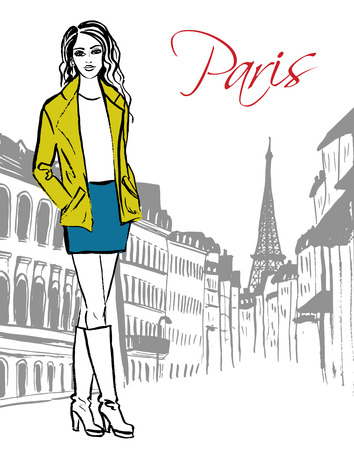 spring coat: Fashion sketch of woman standing on street of Paris. Hand drawn ink sketch.
