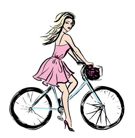 human hand: Fashion illustration of young beautiful woman in pink dress on bicycle. Ink hand drawn sketch isolated on white. Clip art