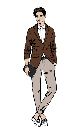 handsome guy: Fashion illustration of man. Hand drawn ink sketch isolated on white. Clip art