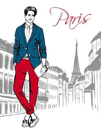 Mode-illustratie van de man lopen op straat van Parijs. Hand getrokken inkt schets.