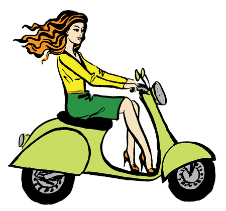 woman driving: Fashion illustration of beautiful young woman driving scooter. Hand drawn ink sketch isolated on white. Clip art