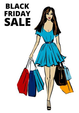 chicas de compras: Ejemplo de la moda de hermosa mujer con bolsas de la compra para el Viernes Negro de diseño. Dé el bosquejo de la tinta aislado en blanco. Clipart