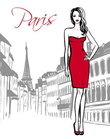 persona viajando: bosquejo de la moda de mujer de pie en la calle de París. Dibujado a mano bosquejo de la tinta.
