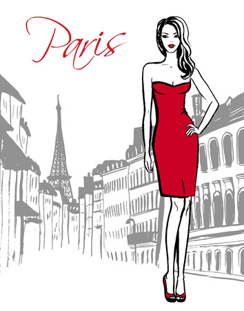 ink sketch: Fashion sketch of woman standing on street of Paris. Hand drawn ink sketch.