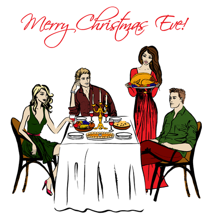 eating dinner: Christmas Eve dinner and woman with turkey. Hand drawn ink sketch isolated on white Illustration