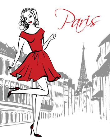 woman dress: Fashion illustration of happy woman in red dress standing on one leg on street of Paris. Hand drawn ink sketch.