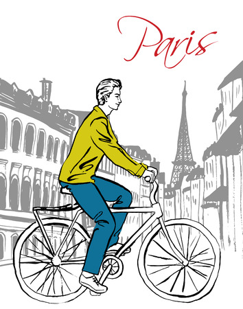 paris street: Beautiful young man driving bicycle in Paris street. Fashion ink hand drawn sketch.