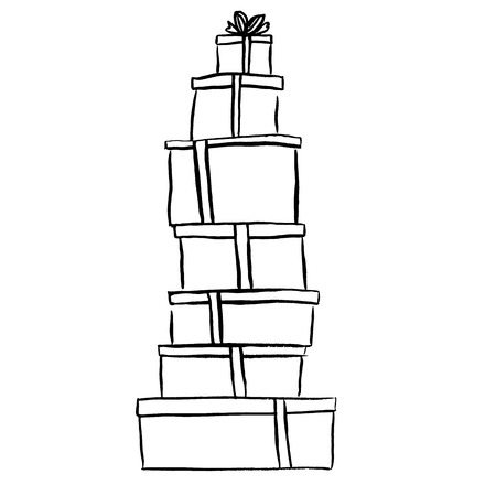 stacks: Stack of Christmas gifts. Ink outline hand drawn sketch isolated on white. Clip art