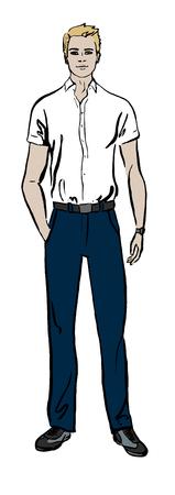 Fashion illustration de l'homme. Hand drawn esquisse d'encre isolé sur blanc. Clipart Banque d'images - 48322806