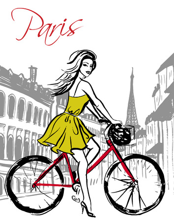 Beautiful young woman driving bicycle in Paris street. Fashion ink hand drawn sketch. Illustration