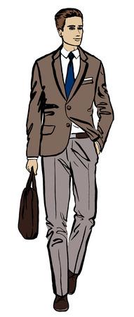 bocetos de personas: Ejemplo de la moda de hombre de negocios. Dé el bosquejo de la tinta aislado en blanco. Clipart