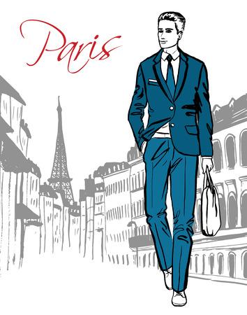 Illustrazione di moda di uomo che cammina sulla strada di Parigi. Abbozzo disegnato a mano di inchiostro.
