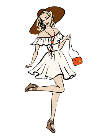 hair style fashion: Fashion illustration of woman in boho style dress and hat. Ink sketch isolated on white