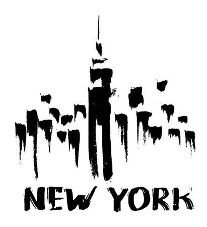construccion: bosquejo de la tinta de los rascacielos de Nueva York vista.