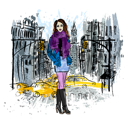 staying: Artistic sketch of woman staying on street of New York, USA Illustration