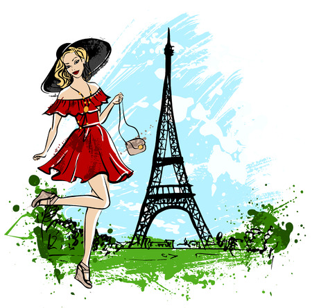 fashion girl: Fashion illustration of happy woman in red dress and hat standing on one leg on street of Paris. ink sketch. Illustration