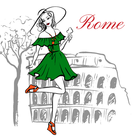 Fashion illustration of cheerful woman in hat with ice cream near Coliseum in Rome, Italy. Ink sketch Illustration