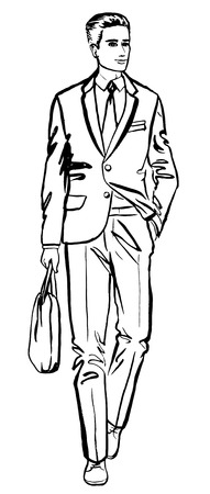 trendy male: Fashion illustration of business man. ink outline sketch isolated on white. Clip art