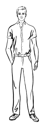 smiling young man: Fashion illustration of man. ink outline sketch isolated on white. Clip art Illustration