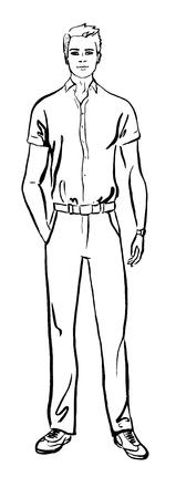 model: Fashion illustration of man. ink outline sketch isolated on white. Clip art Illustration