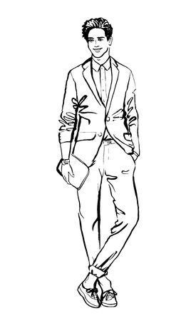 man style: Fashion illustration of man.  ink outline sketch isolated on white. Clip art