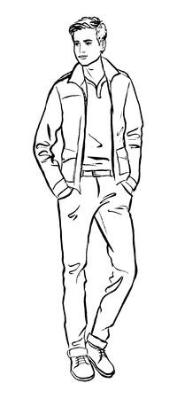 Illustrazione di moda di uomo. schizzo contorno inchiostro isolato su bianco. Clip art