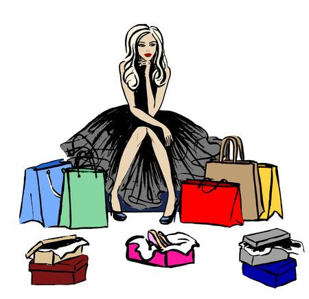 Ejemplo de la moda de mujer pensando en la tienda con bolsas y cajas con zapatos. bosquejo de la tinta aislado en blanco. Clipart