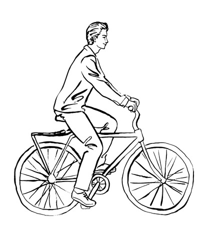 urban art: Fashion illustration of young attractive man in green shirt on bicycle. Ink outline sketch isolated on white. Clip art