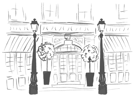 boutique display: Entrance door of european boutique or restaurant. Street, front of building and lanterns. Ink outline sketch isolated on white