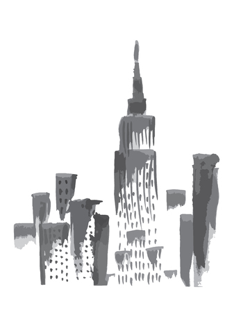 manhattan skyline: Ink sketch of New York skyscrapers view.
