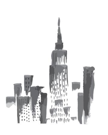 Manhattan Skyline: Ink sketch of New York skyscrapers view.