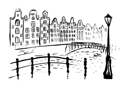 amsterdam: Amsterdam canals with bridge and houses in Holland. Ink  outline sketch isolated on white