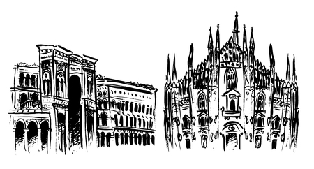 Milan Cathedral, Duomo and Vittorio Emanuele II Gallery at Piazza del Duomo in Italy. Ink  outline sketch isolated on white