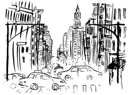 urban street: Street of New York with cars and skyscraper. Ink  outline sketch isolated on white