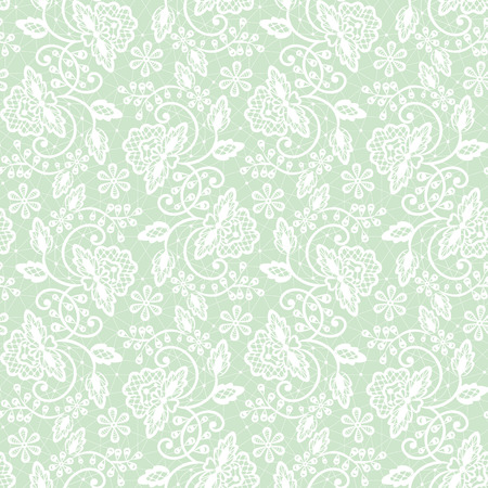 Seamless green lace background with floral pattern Illustration