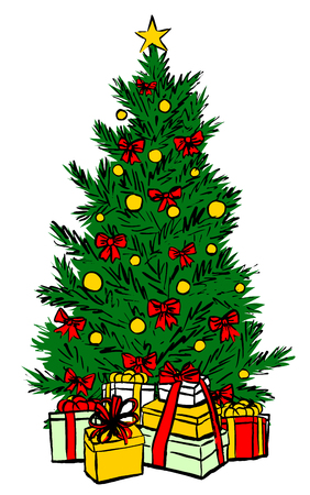 tree isolated: Christmas tree isolated on white. colorful sketch Illustration