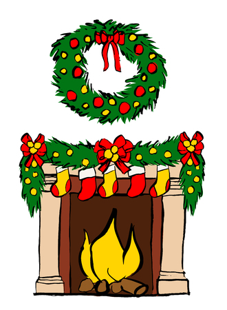 cartoon fireplace: Fireplace with Christmas decoration isolated on white. ink sketch Illustration
