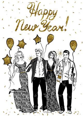 bocetos de personas: Feliz tarjeta de felicitación de año nuevo con la gente que celebra feliz. ejemplo de la tinta