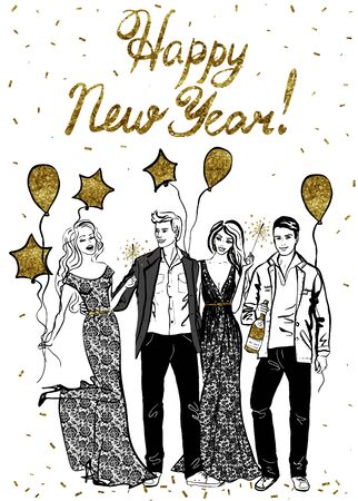 ink illustration: Happy New Year greeting card with happy celebrating people. Ink illustration Illustration