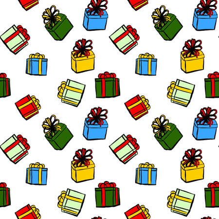 christmas gifts: Seamless pattern with Christmas gifts on white background Illustration