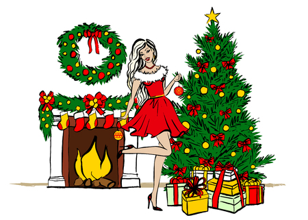 home deco: Young woman decorating Christmas tree. ink sketch isolated on white