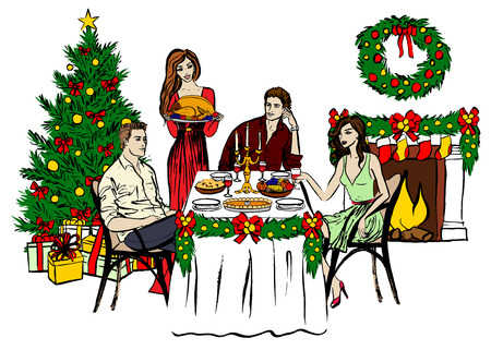 dinner party table: Christmas Eve dinner and woman with turkey. ink sketch isolated on white