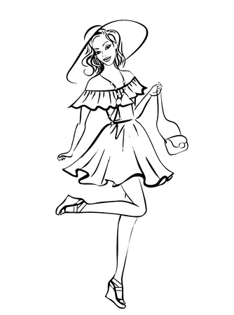 cartoon hat: Fashion illustration of woman in boho style dress and hat. Ink  sketch isolated on white
