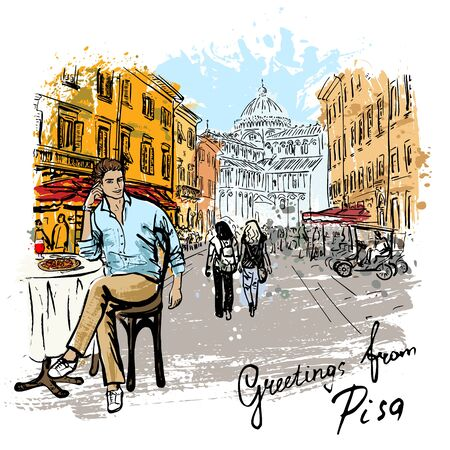italy street: Artistic  sketch of man sitting in cafe on street of Pisa, Italy