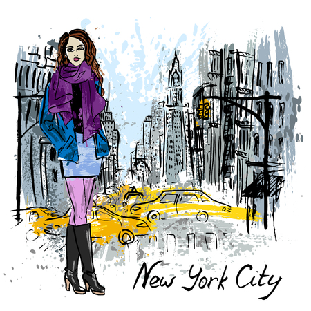 fashion girl: Artistic sketch of woman staying on street of New York, USA Illustration