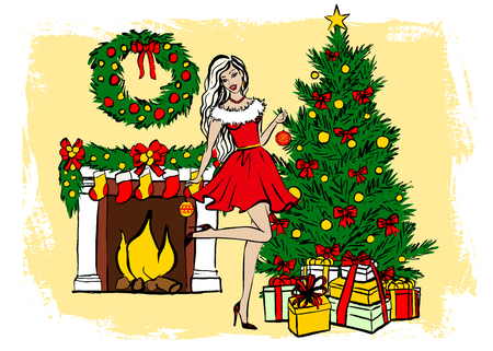 gift season: Young woman decorating Christmas tree. ink sketch. Greeting card template Illustration