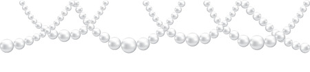 pearl: Pearl necklace border isolated on white. Clip art