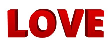love letters: Vector volumetric red word Love, 3d letters isolated on white. Clip art Illustration